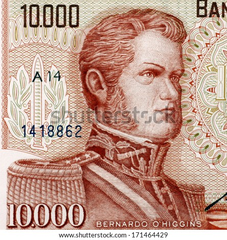 CHILE - CIRCA 1970: Bernardo O'Higgins (1778-1842) on 10000 Escudos 1970 from Chile. Chilean independence leader. - stock photo