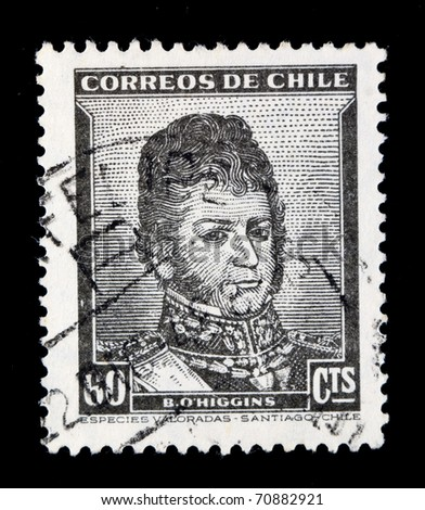 CHILE - CIRCA 1940s: A stamp printed in Chile shows image of Bernardo O'Higgins, the Chilean general, series, circa 1940s