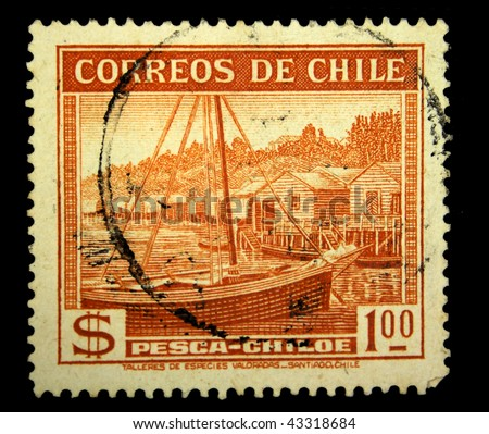 CHILE - CIRCA 1950s: A stamp printed in Chile shows view of Pesca-Chiloe, circa 1950s