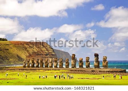 CHILE - FEBRUARY 6: Moais of Ahu Tongariki on Easter Island, Chile. - stock photo
