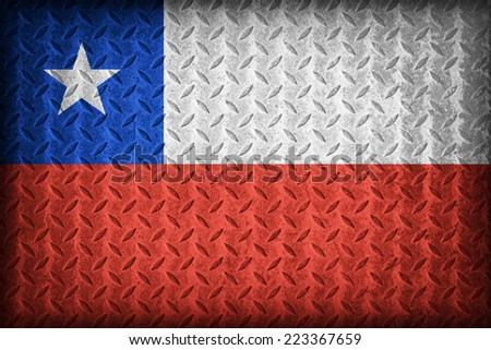 Chile flag pattern on the diamond metal plate texture ,vintage style - stock photo