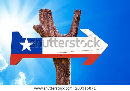 Chile Flag wooden sign with sky background - stock photo