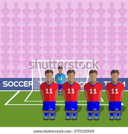 Chile Football Club Soccer Players Silhouettes. Computer game Soccer team players big set. Sports infographic. Football Teams in Flat Style. Goalkeeper Standing in a Goal. Raster illustration. - stock photo