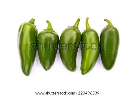 Chile Jalapeno hot chili pepper on white background - stock photo