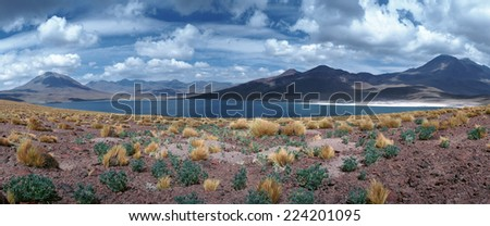 Chile, landscape with lake and mountains, panoramic view - stock photo