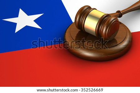Chile laws, legal system and justice concept with a 3d rendering of a gavel and the Chilean flag on background. - stock photo