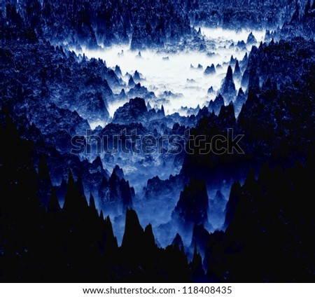 Chilean Andes - panoramic view of mountains - stock photo