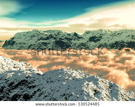 Chilean Andes with awesome skyscape - stock photo