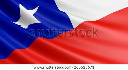 Chilean flag fluttering in wind. - stock photo