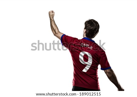 Chilean soccer player, celebrating on the white background.