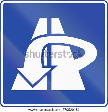 Chilean traffic sign: Motorway return route. - stock photo
