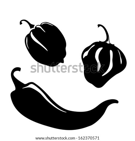 Chili and habanero peppers silhouettes. Raster version - stock photo