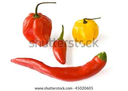 Chili and paprika as a face isolated with shadows