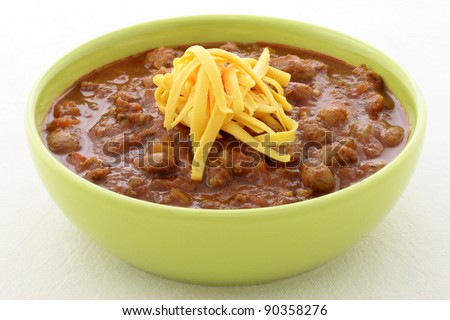 Chili beans made with kidney beans, lean ground beef, Chili powder, tomato paste and other delicious ingredients, this great chili recipe can be seasoned to taste to create a mildly flavored dish. - stock photo