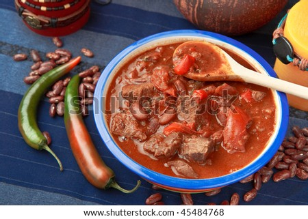 Chili con carne - hot pepper with beef (top view) - stock photo