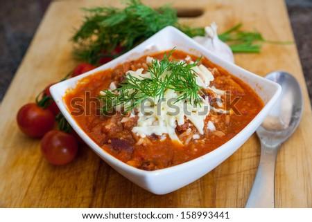Chili con carne plate  - stock photo