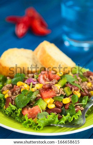 Chili con carne salad made of mincemeat,kidney beans,watercress,bell pepper,tomato, sweet corn and red onions served on lettuce with baguette slices (Selective Focus, Focus in the middle of the salad) - stock photo