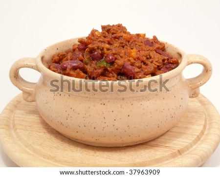Chili con carne, spicy beans and meat - stock photo
