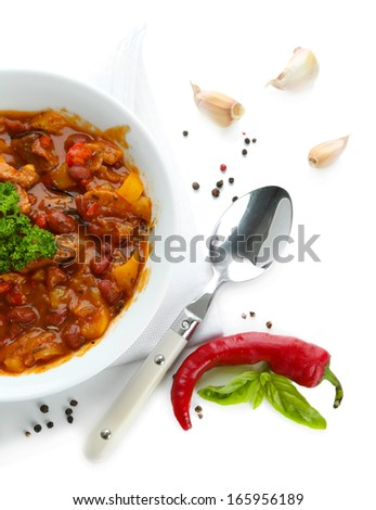 Chili Corn Carne - traditional mexican food, isolated on white - stock photo