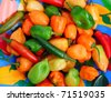 chili Habanero and Serrano hot mexican peppers colorful dish - stock photo