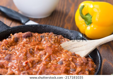 Chili in a Cast Iron Pan - stock photo