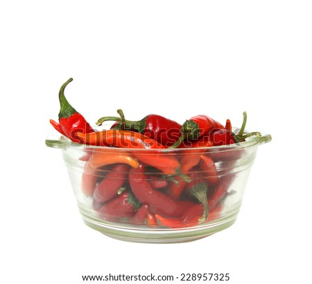 chili in bowl on white background - stock photo