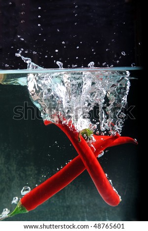 Chili in water splash with clipping path - stock photo