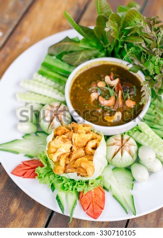 Chili paste and egg with fried mackerel, vegetable Thai food