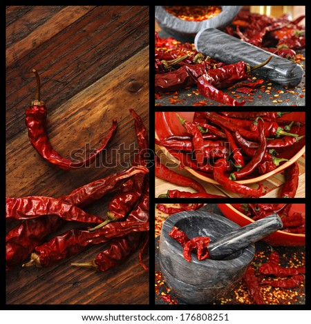 Chili pepper collage includes images of dried peppers on rustic wood, peppers spilling from ceramic bowl, and peppers being crushed into flakes in a marble mortar and pestle. - stock photo