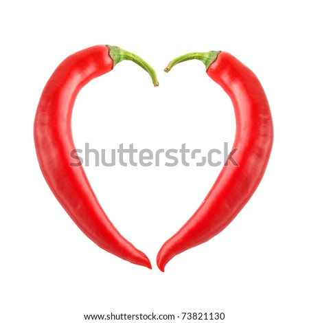 Chili pepper heart shape isolated