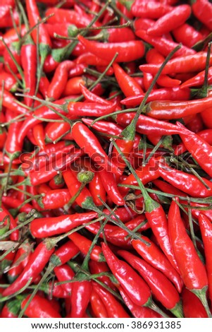 Chili peppers (Capsicum frutescens) on the Asian market - stock photo