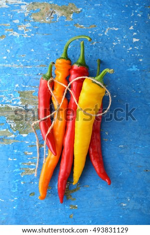 chili peppers colorful mix top view