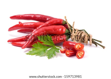 Chili peppers on white background  - stock photo