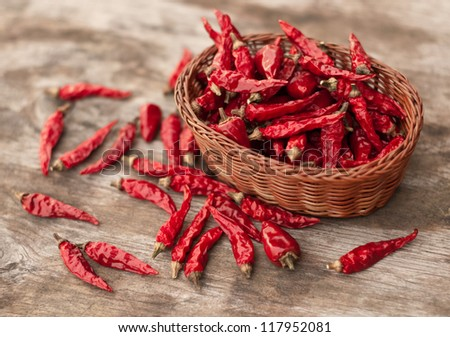 Chili peppers on wooden table in a basket