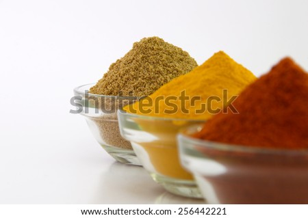 Chili Powder, Turmeric Powder & Coriander powder in Bowl.