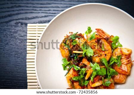 chili prawns - stock photo