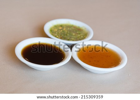 chili ,soy and seafood sauce - stock photo