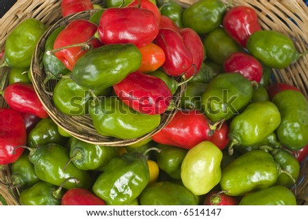 Chilies in a Market in Chiapas Mexico - stock photo