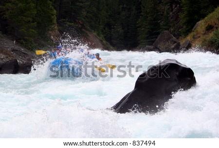 chilko river british columbia/river rafting - stock photo