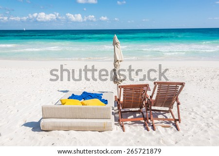 Chill and relax at Tulum beach. Traveling through caribbean, Maxican coast. - stock photo