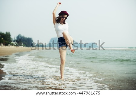 Chill Peace Summer Coast Vacation Journey Calm Concept - stock photo