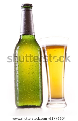 Chilled beer isolated on white!