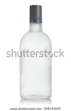 Chilled bottle of vodka, covered with frost on a white background - stock photo