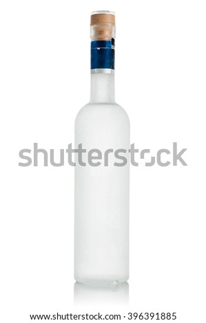 chilled bottle of vodka , frosted with a white background.