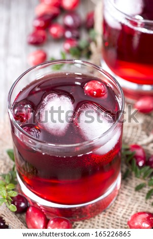 Chilled Cranberry Juice in a glass - stock photo