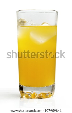 Chilled orange drink with ice on a white background.