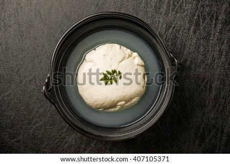 chilled tofu cut into block japanese food (TOFU) - stock photo