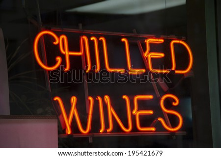 Chilled Wines neon sign in New York City store window - stock photo