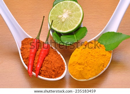 Chilli cayenne, chilli powder, curry powder, curry leaves and green lime - stock photo