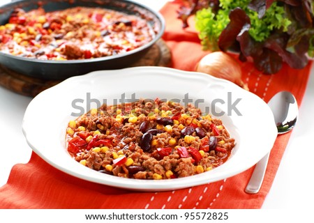 Chilli con carne cooked in the pan - stock photo